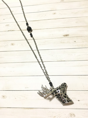 Silver Deer Head Necklace