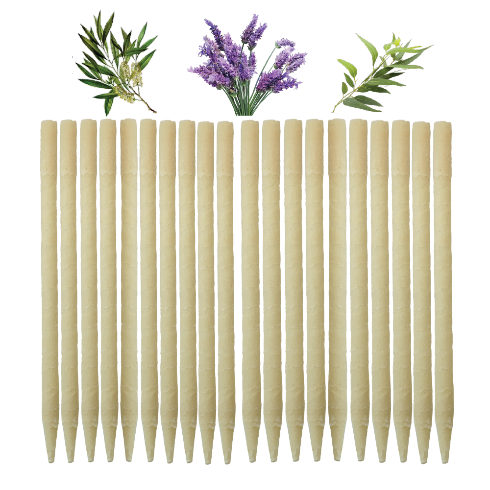 20pk Herbal Paraffin Ear Candles  (Infused w/Lavender, Eucalyptus, & Tea Tree Essential Oils)