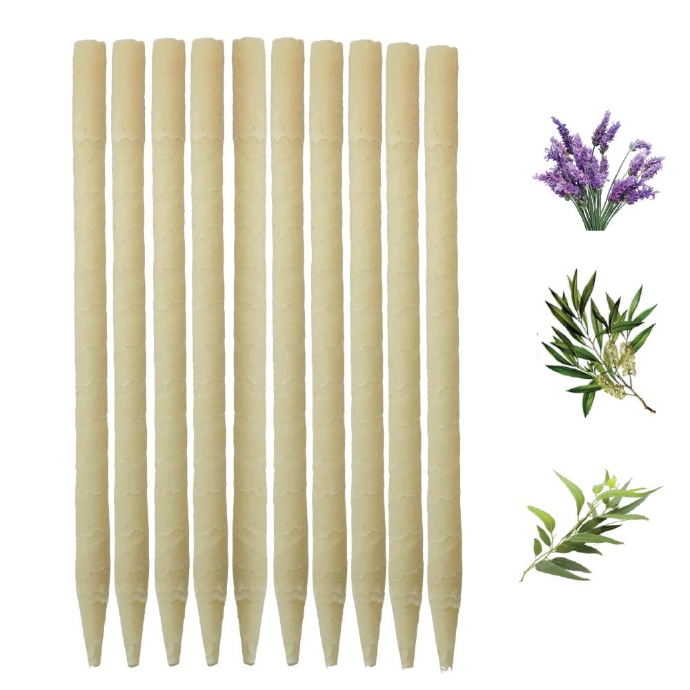 10pk Herbal Paraffin Ear Candles  (Infused w/Lavender, Eucalyptus, & Tea Tree Essential Oils)