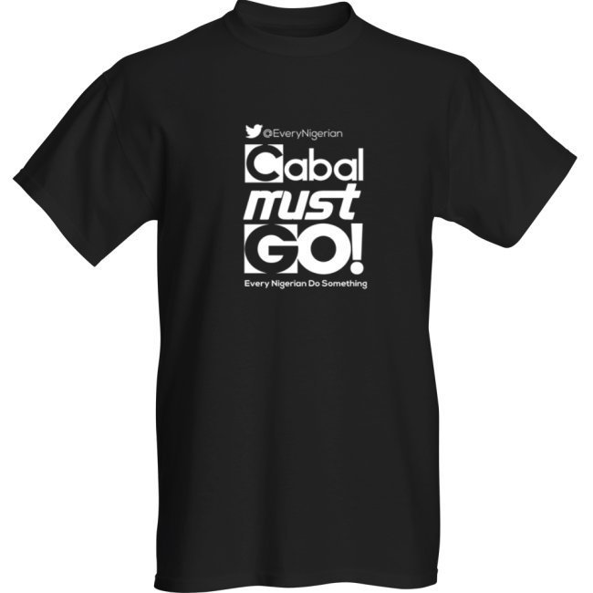 Cabal Must Go T-shirt White on Black 00002