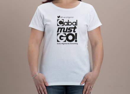 Cabal Must Go T-shirt Ladies Black on White 00003
