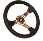 350mm Sport wheel  - Black Leather, Red Baseball Stitch, Rose Gold spoke