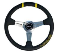 "360mm ""bumble Bee"" Sport Wheel - Blk Leather w/ double ylw Center mark"