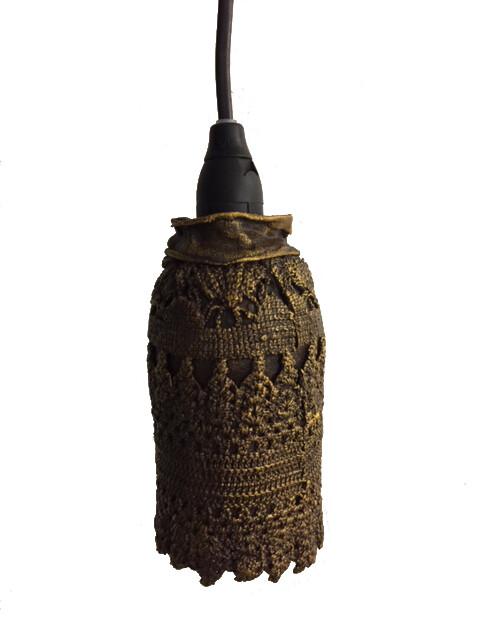 Brun lampskärm (spetsar)