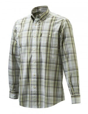 Camicia Drip Dry Shirt Long Sleeves White & Green Check - BERETTA LU510