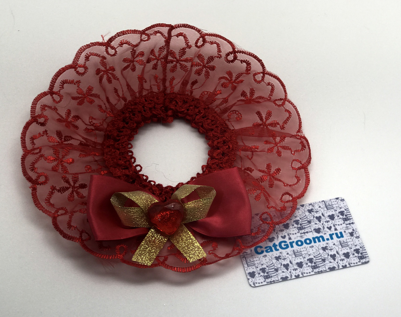 Декоративный воротничок (красный с бантом)