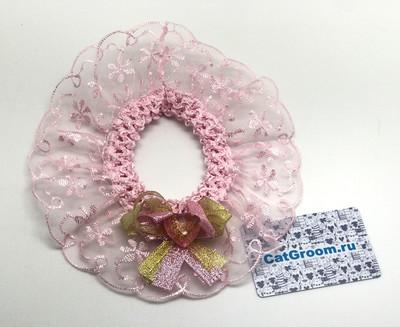 Декоративный воротничок (розовый с бантиком)