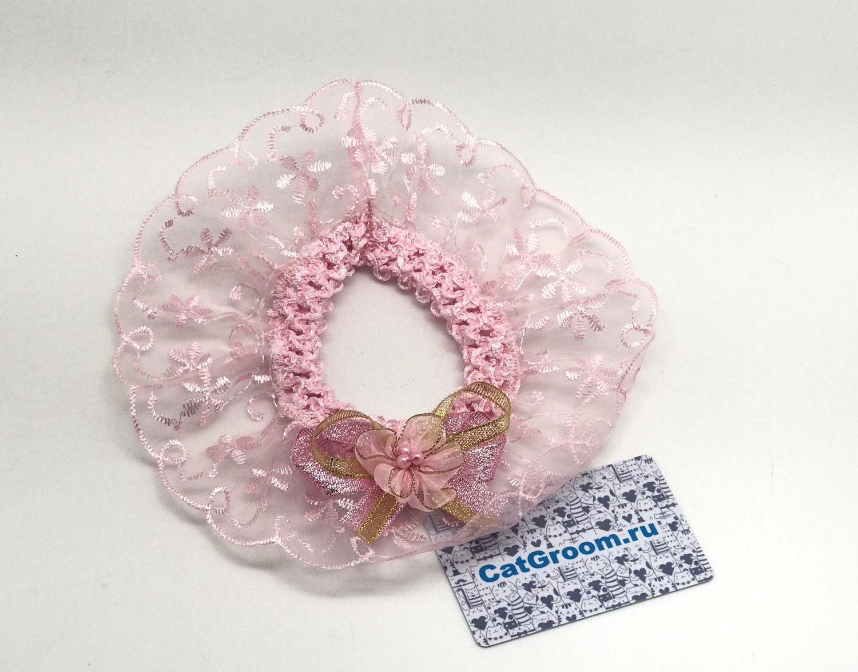 Декоративный воротничок (розовый с цветочком)