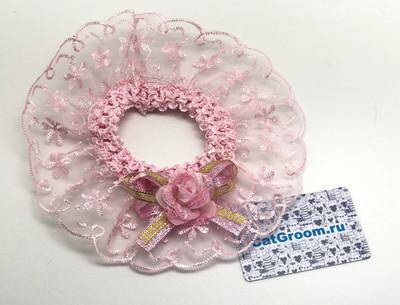 Декоративный воротничок (розовый с цветочком
