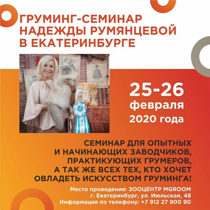 Двухдневный обучающий семинар по грумингу кошек  1 блок на выбор 26.02.2020 г. Екатеринбург