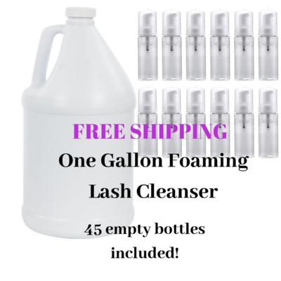 Bulk cleanser! 1 gallon bottle with cleanser  solution inside. You will need one gallon of distilled water to add to solution. Also recieve 45 1.7oz foaming dispenser bottles