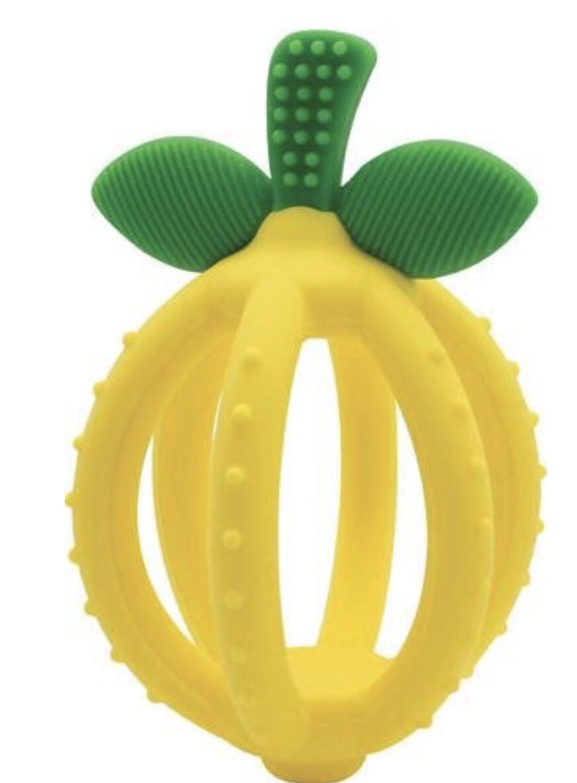 Bitzy Biter Lemon Drop Teething Ball & Training Toothbrush