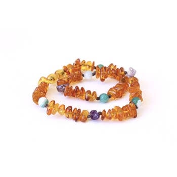 14 Inch Amber Teething Necklace by Beaming Amber Sun