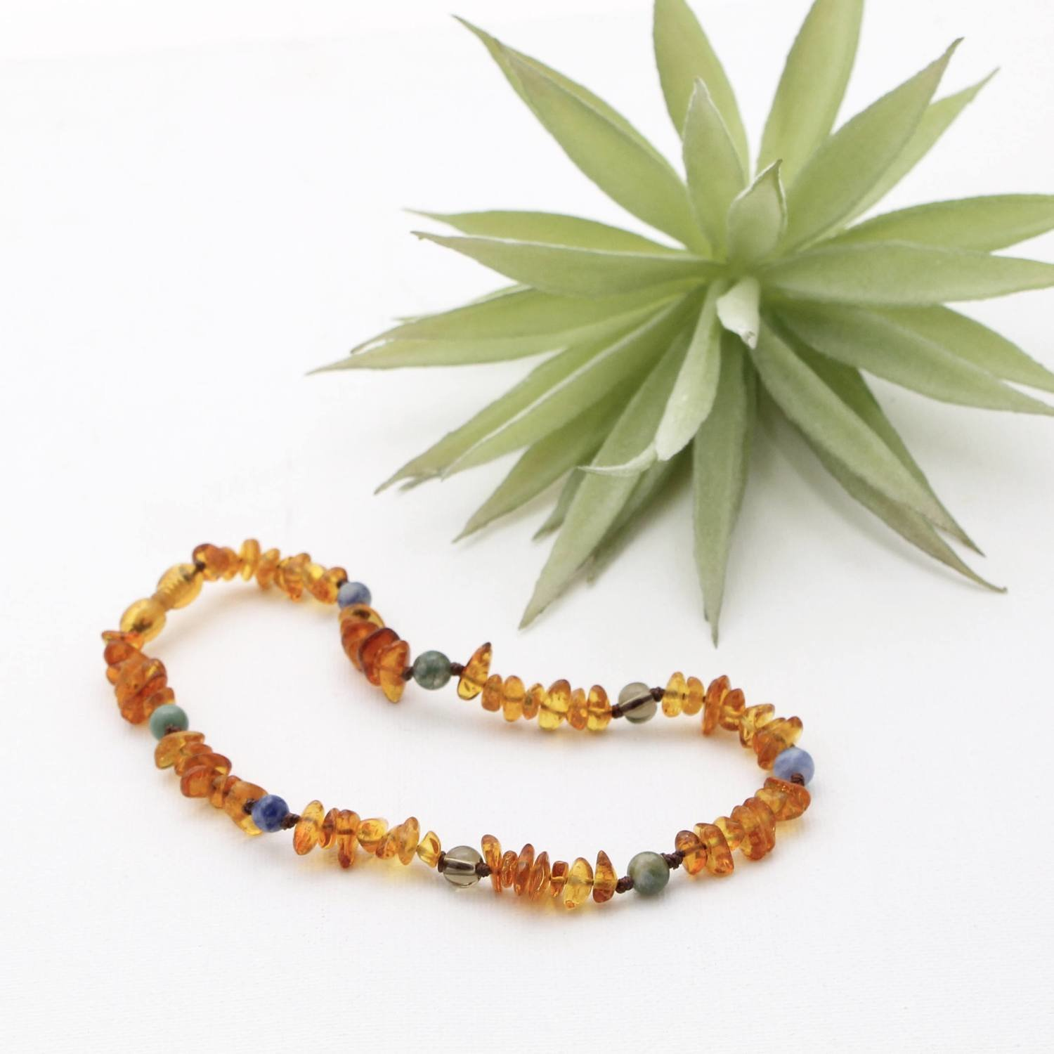 12 Inch Amber Teething Necklace by Beaming Amber Sun
