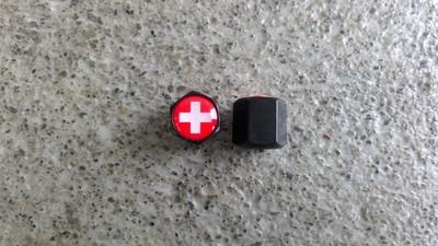 Ventilkappen Schrader Schweizerkreuz Schwarz 1Paar