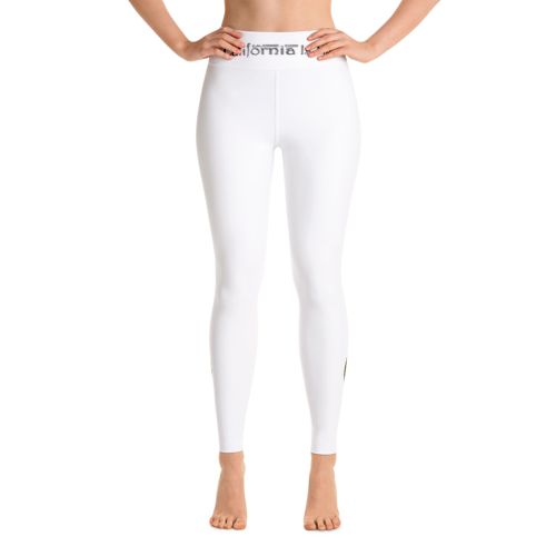 I Am Queen Calafia  Warrior White Yoga Leggings CALIFORNIA IS ME EST. 1510