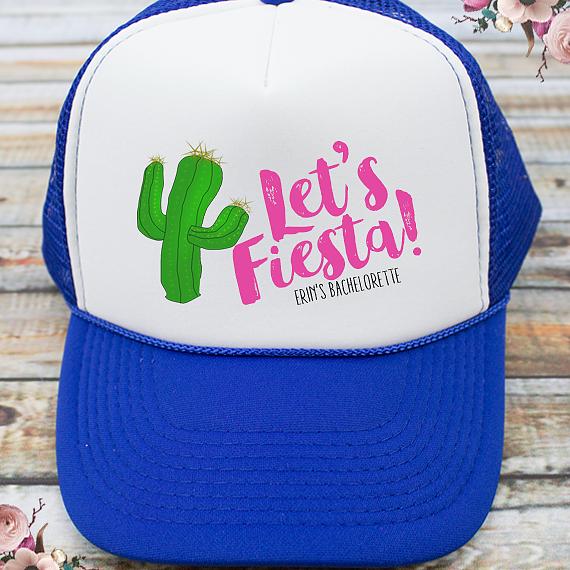 29315495a63 Let's Fiesta Bachelorette Party Trucker Hat