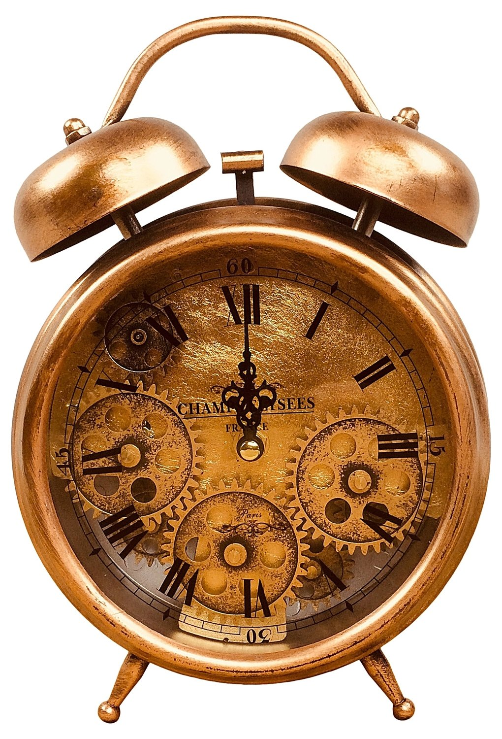 Retro Vintage Style Copper Effect Alarm Clock With Cogs