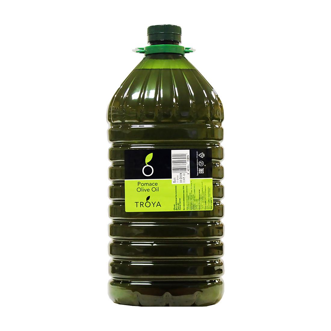 Масло оливковое помас (второй отжим), ТРОЯ, пластик 5л
