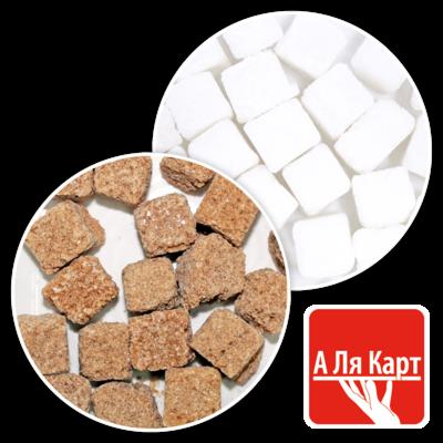 Сахар тростниковый кусковой ассорти (50/50), А ЛЯ КАРТ, лоток 900г
