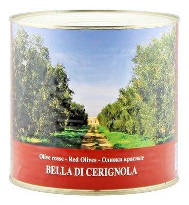 Оливки белла ди чериньола гигантские красные, ЭСКОДЖИТО, жесть 2,6кг