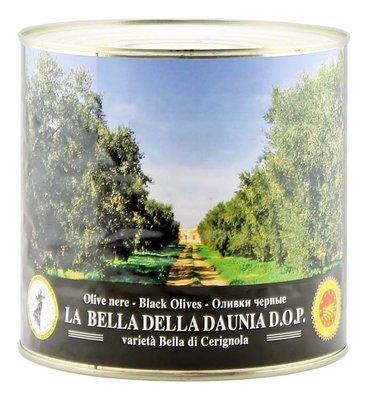 Оливки белла ди чериньола гигантские черные, ЭСКОДЖИТО, жесть 2,6кг