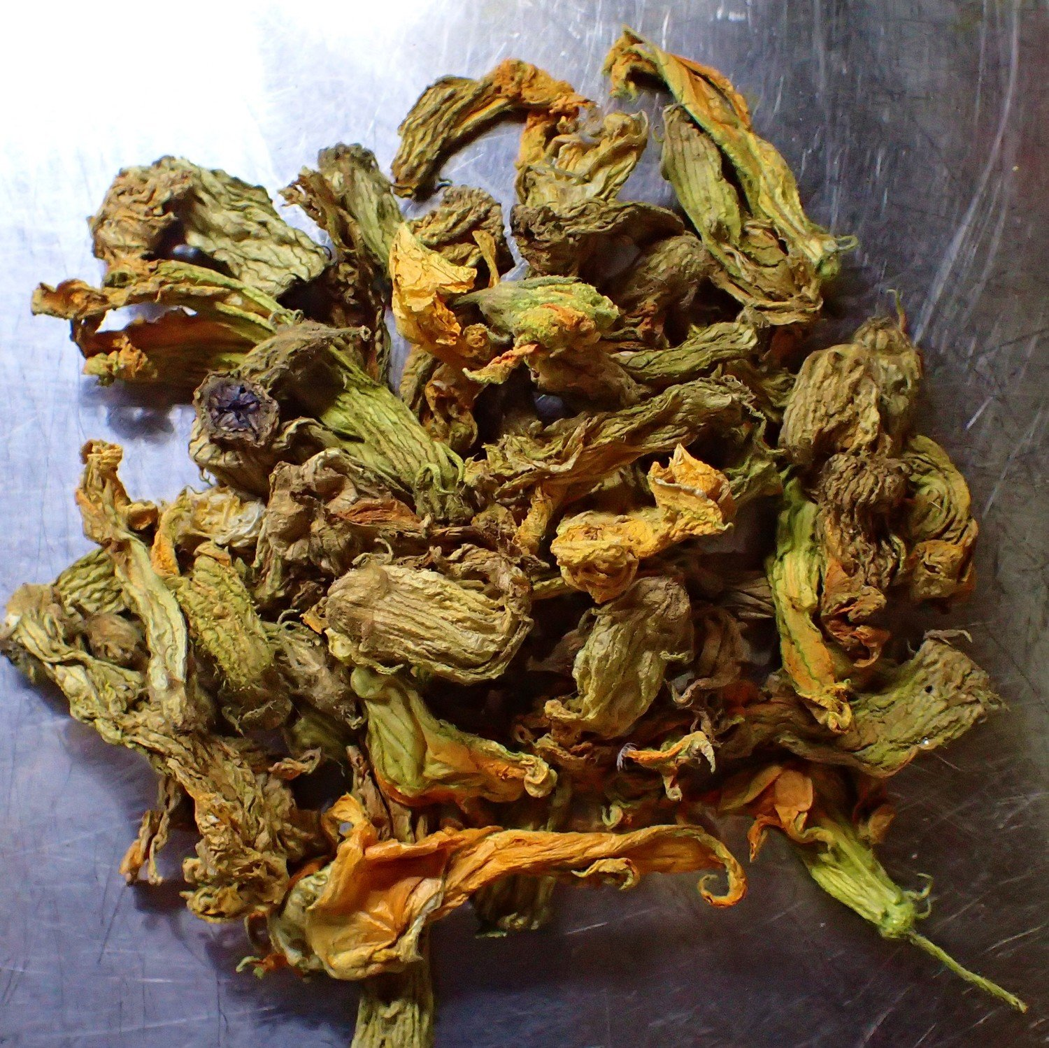 100% Organic Dried Zucchini Flowers x5