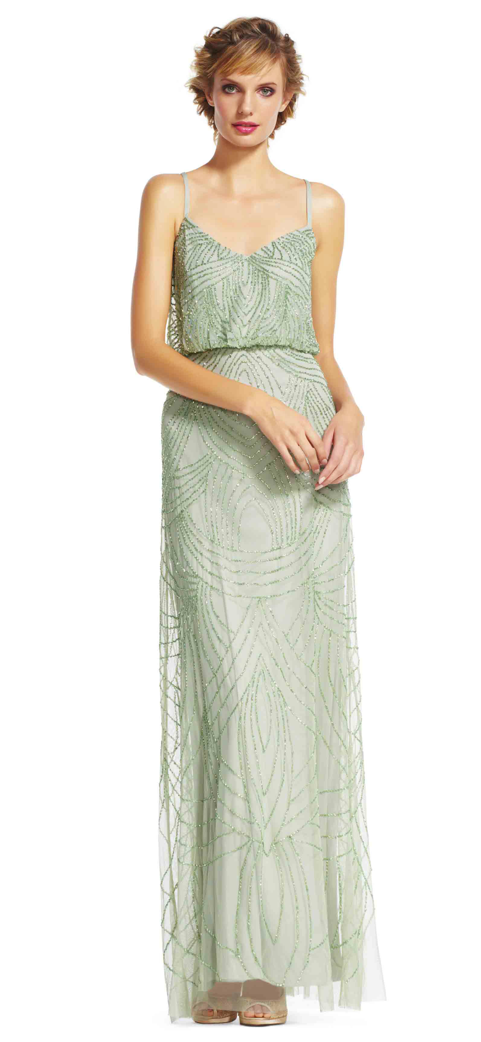 Adrianna Papell beaded blouson gown TAUPE/PINK | Best Deals and ...