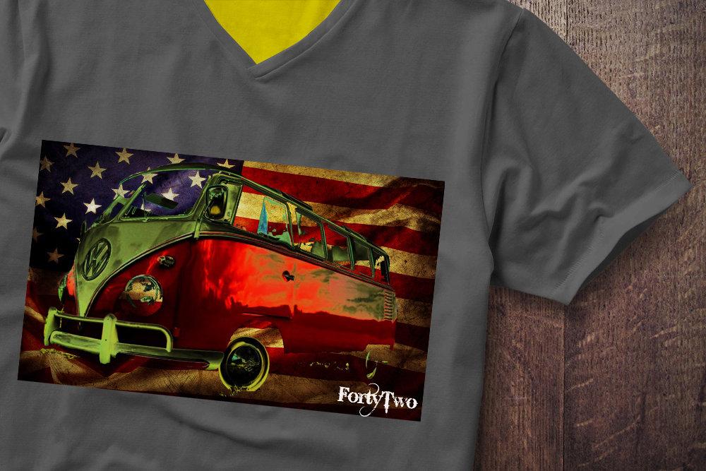Samba USA Flag VW Flag Samba USA Tshirt