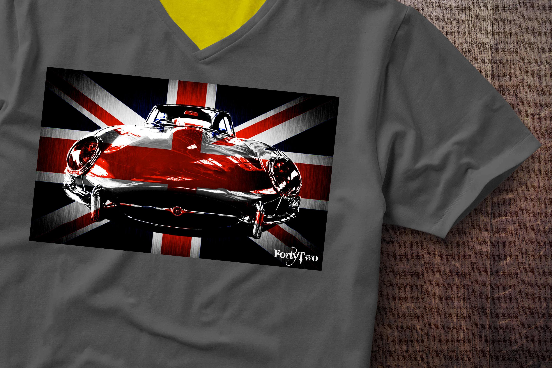 E Type Jaguar UK Flag Jaguar Flag E Type Tshirt