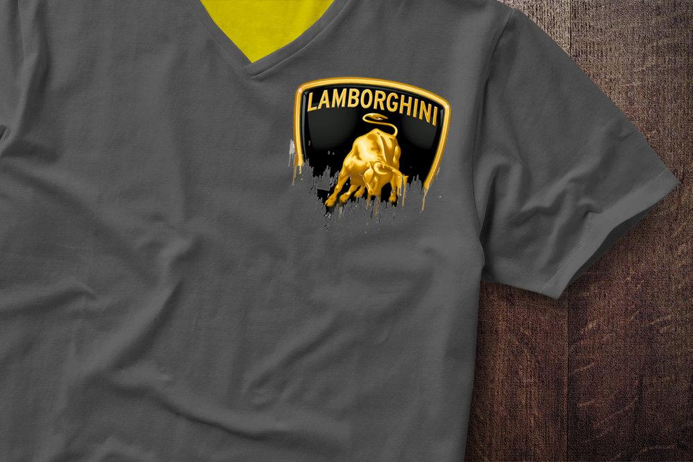 Lamborghini Badge Liquid Metal Lamborghini Liquid Metal Badge Tshirt Shoulder