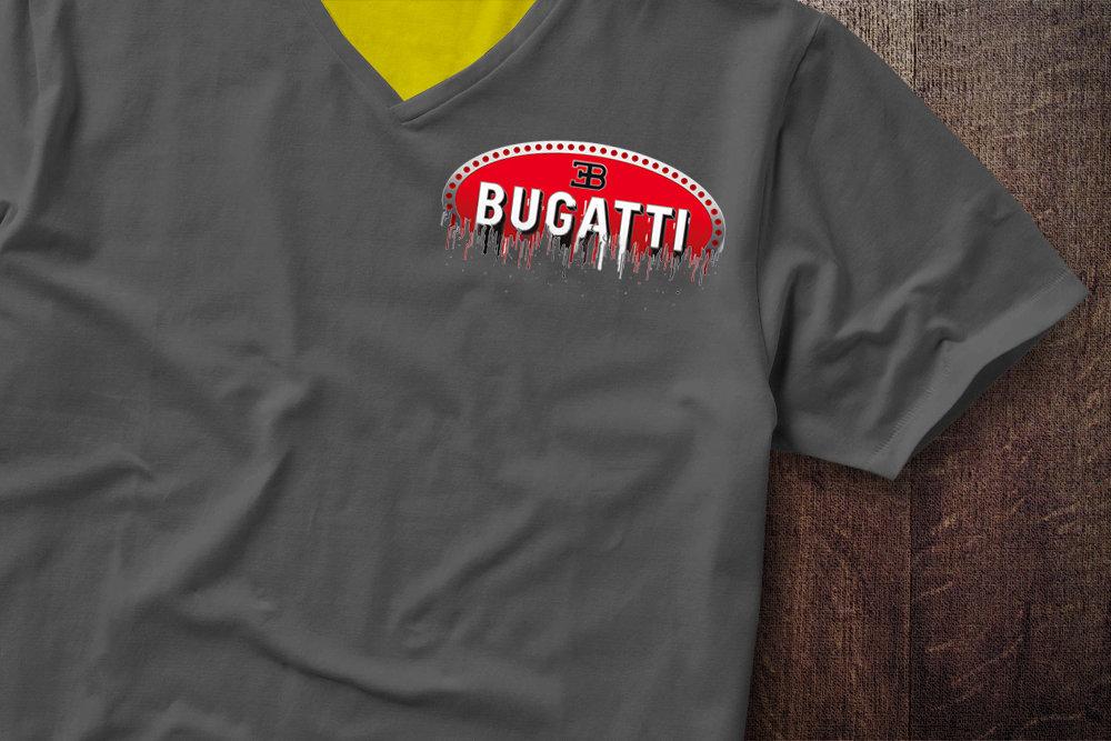 Bugatti Badge Liquid Metal Bugatti Badge Liquid Metal Badge Shoulder Tshirt