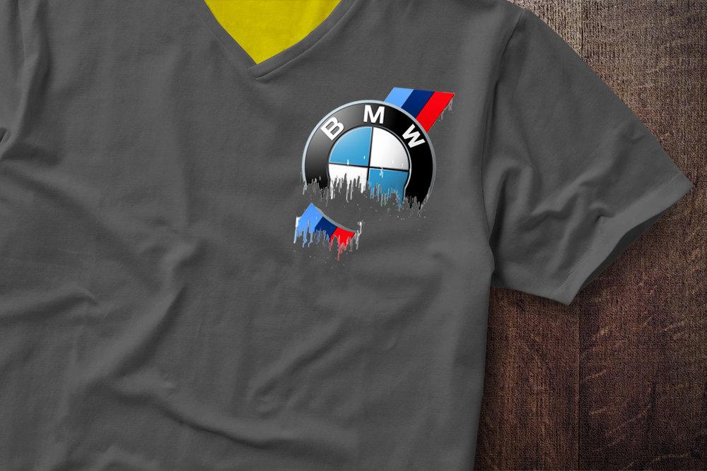 BMW Badge Liquid Metal BMW Badge Liquid Metal Badge Shoulder Tshirt