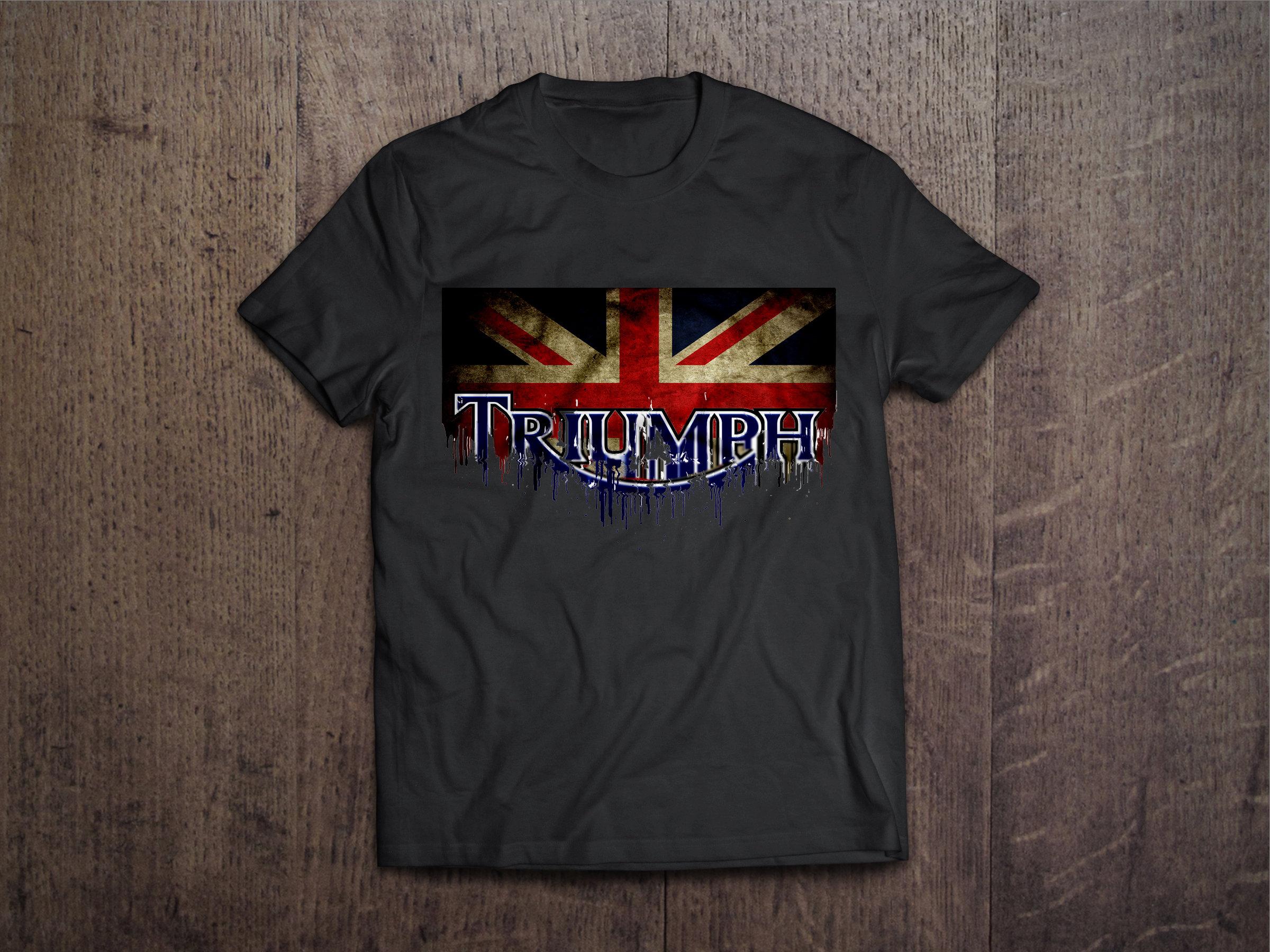 Triumph Flag Liquid Metal Triumph Motorcycle Liquid Metal Flag Tshirt