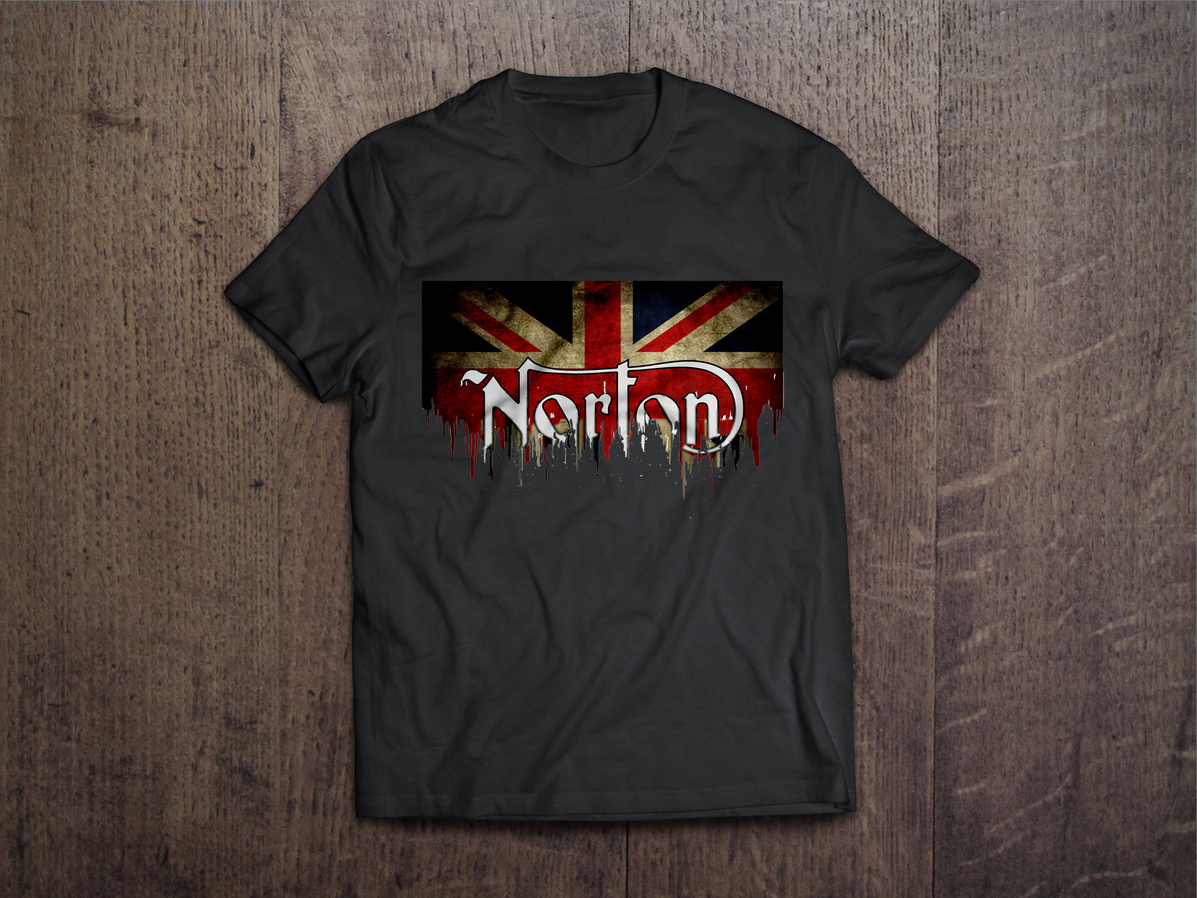 Norton Flag Liquid Metal Norton Liquid Metal Flag Tshirt