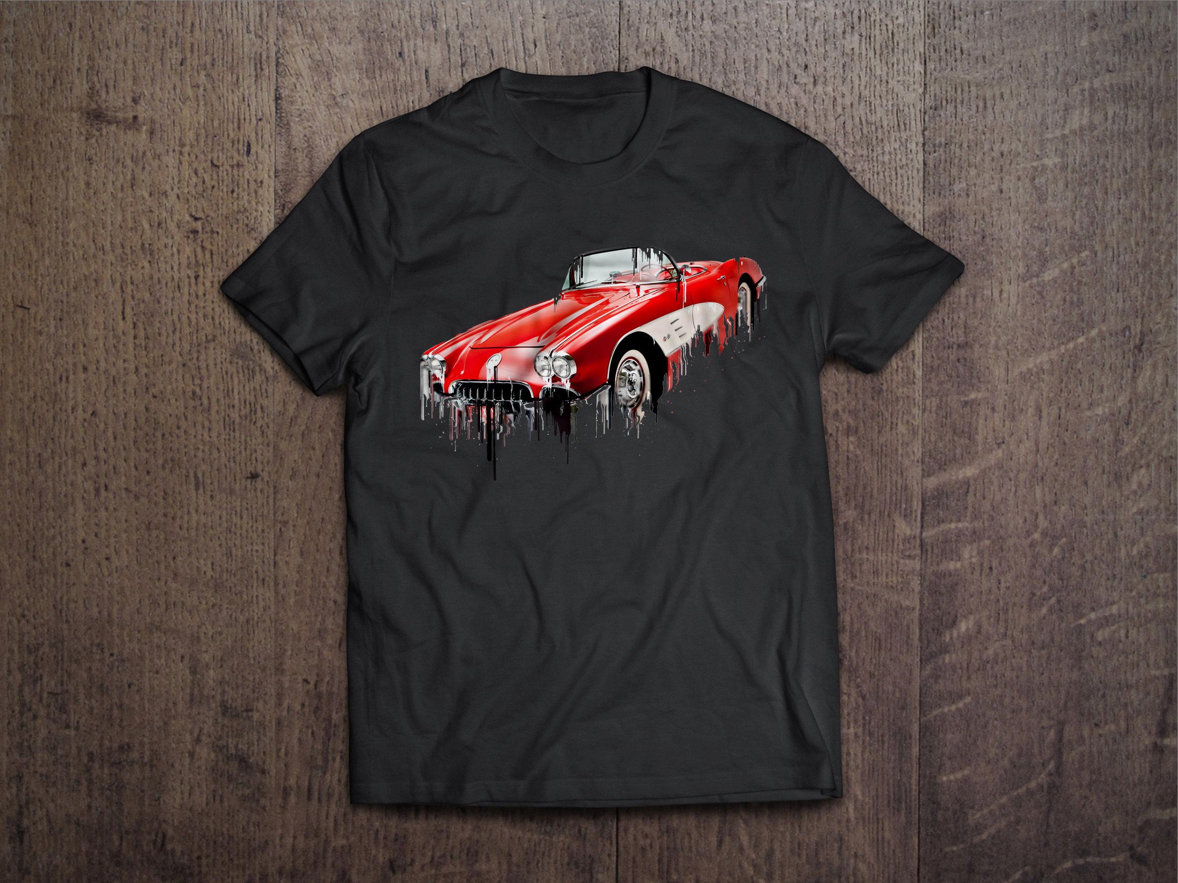 Corvette Liquid Metal Chevrolete Liquid Metal Corvette Tshirt