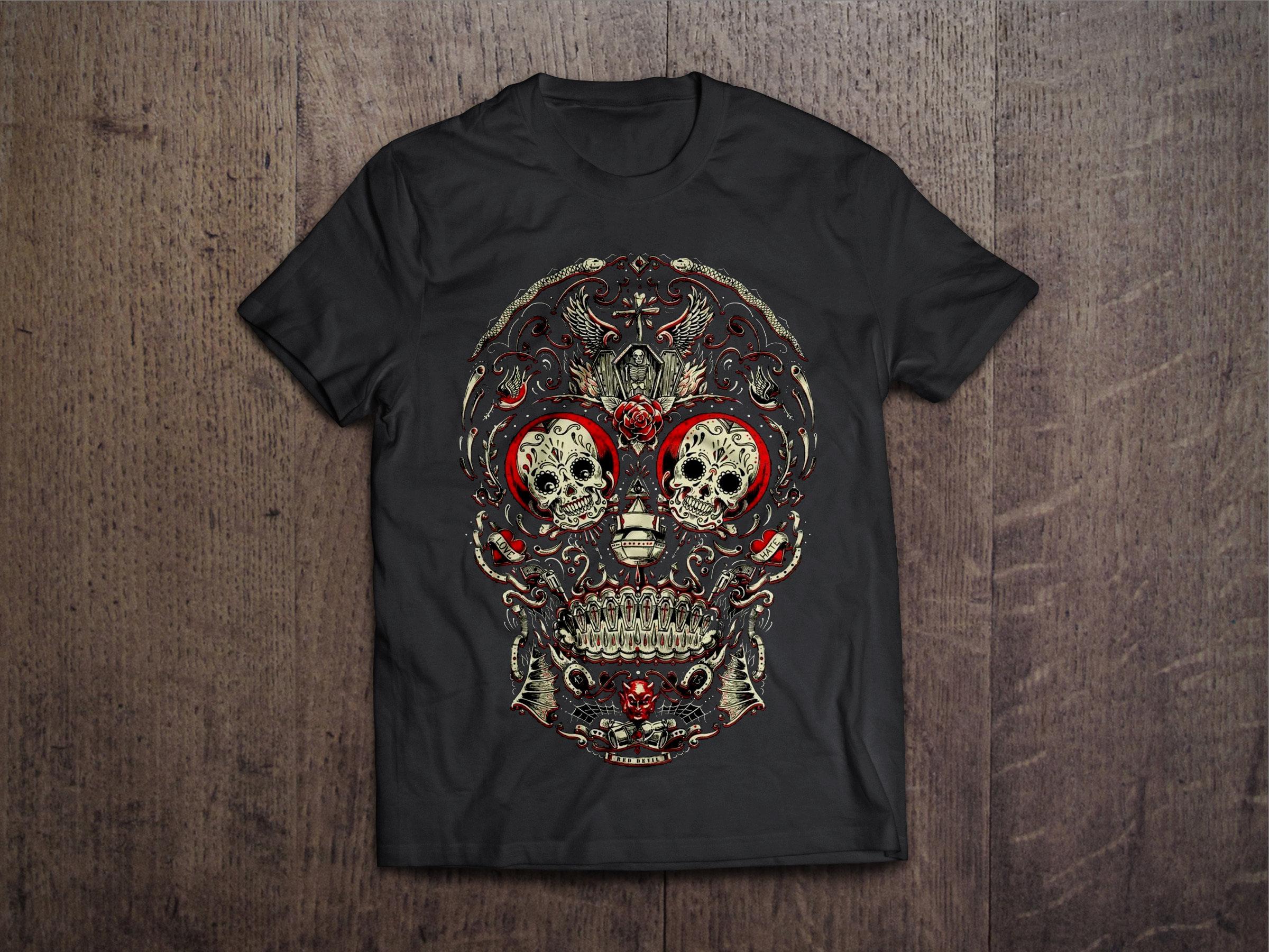 Sugar Skull Dia de Los Muertos Chest Candy Sugar Skull Los Muertos Tshirt