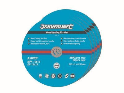 Silverline Metal Cutting Discs Flat, 230 x 3 x 22.2 mm - Pack of 5