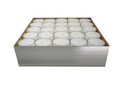 conf. 50 candele con contenitore in plastica, durata illuminazione: fino a 8 ore