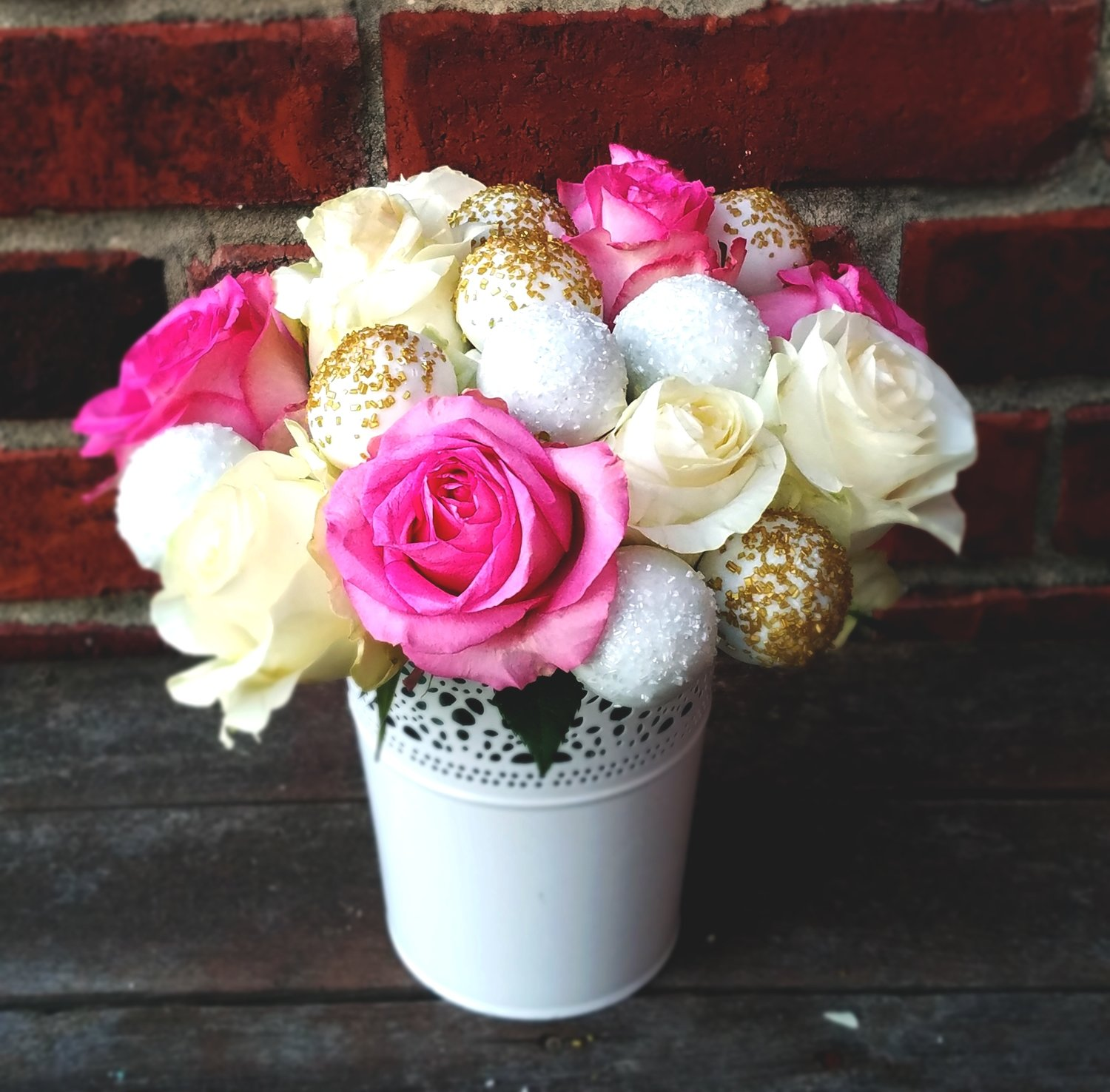 Cake Truffle Bouquet (Pink Roses/Gold accents)