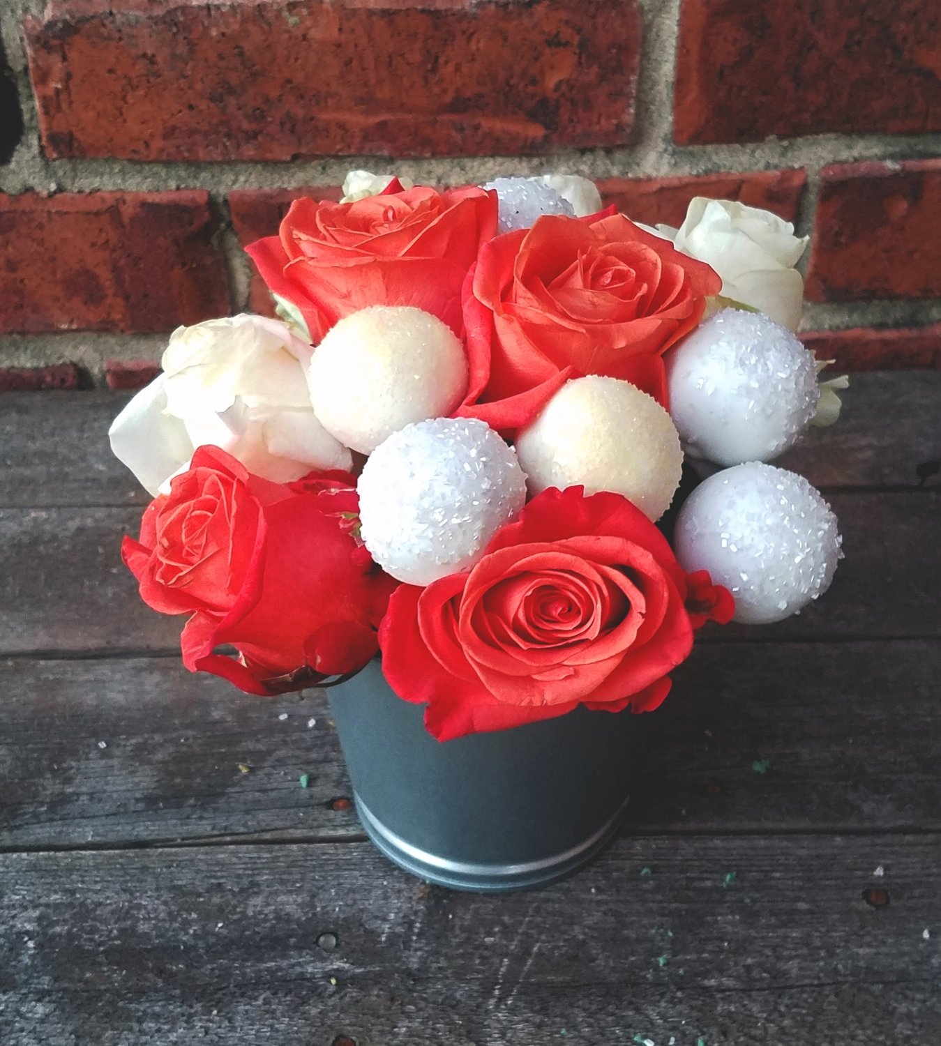 Cake Truffle Bouquet (Red and White Roses/White accents)