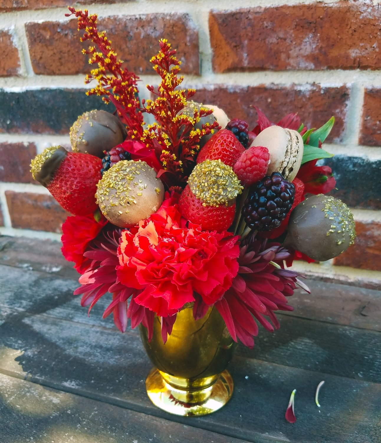 Truffle & Fruit Bouquet (Red/Brown w/ Gold Vase)