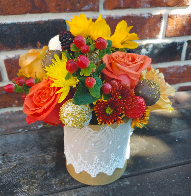 Truffle & Fruit Bouquet (Orange/yellow w/ round box)