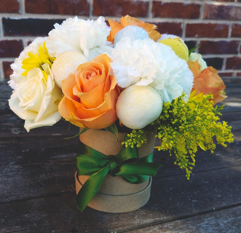 Truffle & Fruit Bouquet (Orange/yellow w/ small round box)