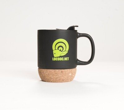 Matte Black Cork Bottom Mug with Lid- 14oz
