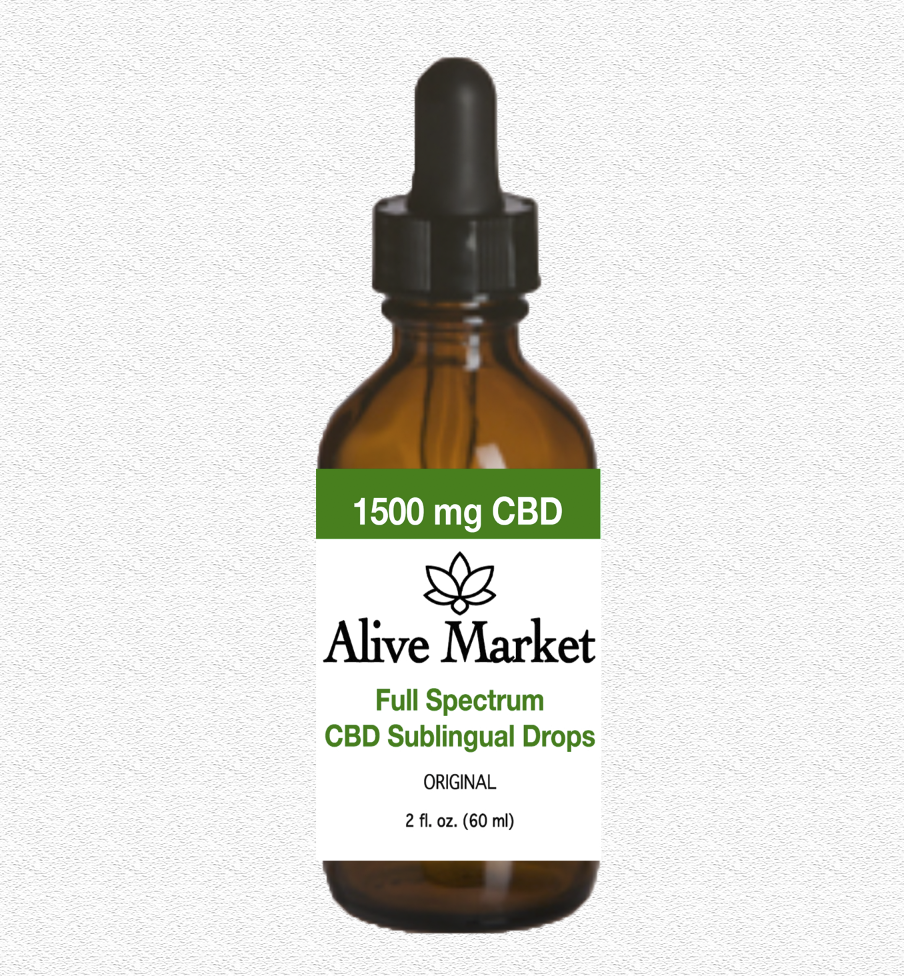 Alive Market Full Spectrum CBD Oil Tincture Drops 1500 mg Original 00000