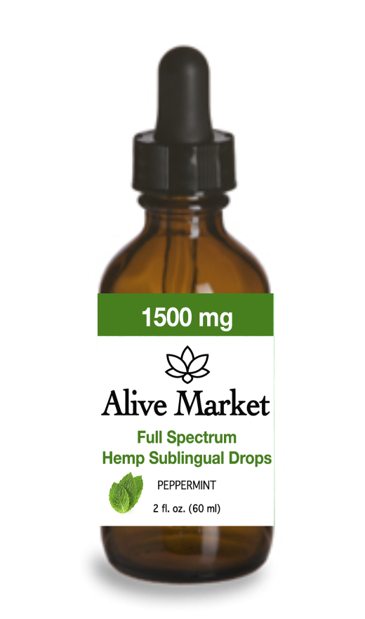 Alive Market Full Spectrum CBD Oil Drops 1500 mg Peppermint 00001