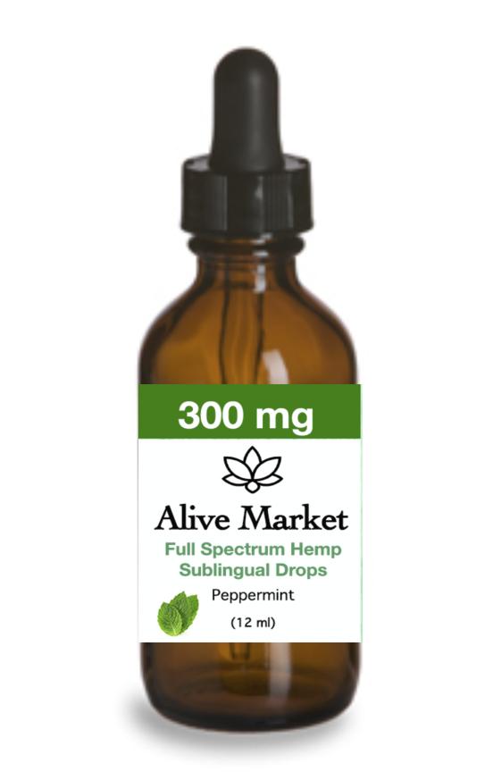 Alive Market Full Spectrum CBD Oil Drops 300 mg Peppermint 00003