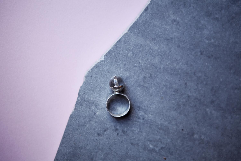 Серебряное кольцо со стеклянным шаром