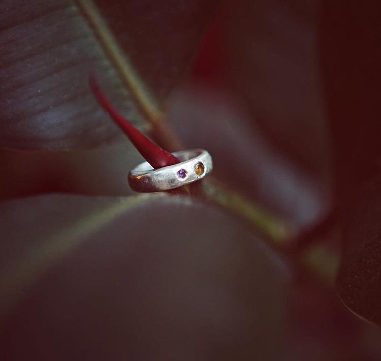 Серебряное кольцо с цитрином и аметистом